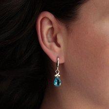 Серебряные серьги-подвески Динара с альпинитами цвета голубого топаза