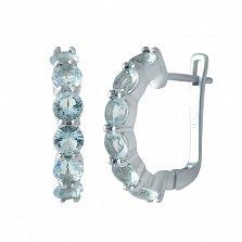 Серебряные серьги Миллада с дорожками аквамарина нано
