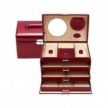 Красная шкатулка для украшений WindRose Merino с зеркалом и замком