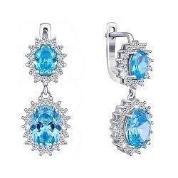 Серебряные серьги-подвески с голубыми и белыми фианитами 000029102