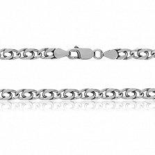 Серебряная цепь с плоскими звеньями Александрия, 5 мм