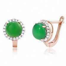 Позолоченные серебряные серьги Рашель с зеленым агатом и цирконием
