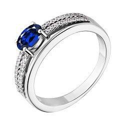 Cеребряное кольцо с синим и белым цирконием 000028353