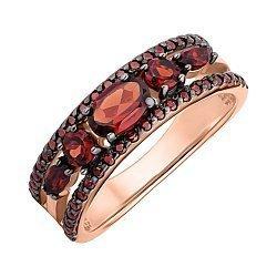 Кольцо из красного золота с гранатами и фианитами 000147829