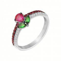 Золотое кольцо Тюльпан в белом цвете с рубинами, бриллиантамии гранатами