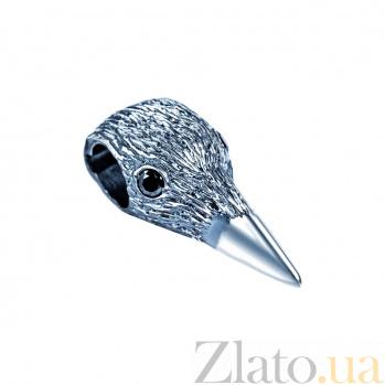 Серебряная бусина Черный ворон 000027052