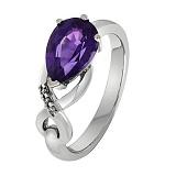 Золотое кольцо Эдита с аметистом и бриллиантами