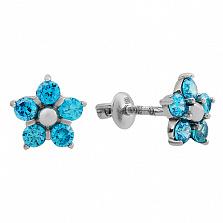 Серебряные пуссеты Нарцисс с голубым цирконием