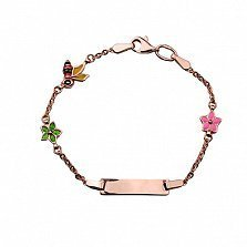 Детский золотой браслет с эмалью Пчелки в цветах