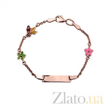 Детский золотой браслет с эмалью Пчелки в цветах ONX--б01021