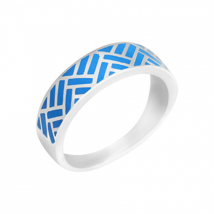 Серебряное кольцо Авалон с синей эмалью 000082019