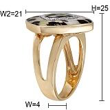 Кольцо Охотница из желтого золота с бриллиантами и эмалью