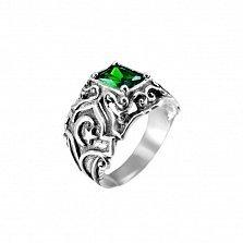 Серебряный перстень-печатка Омен с узорной шинкой, чернением и зеленым фианитом