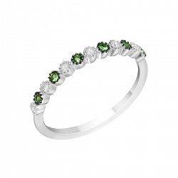 Золотое кольцо в комбинированном цвете с бриллиантами и цаворитами 000114591