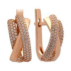 Серебряные позолоченные серьги с россыпью фианитов 000150137