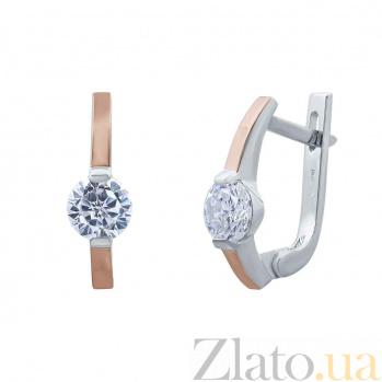 Серебряные серьги Теплый поцелуй с золотой пластиной и фианитами AQA--Г0239С