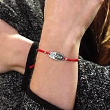 Шелковый браслет Polina с овальной серебряной вставкой