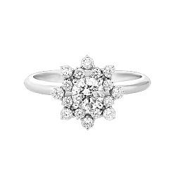 Золотое кольцо с бриллиантами и аквамарином Сияние бриллианта