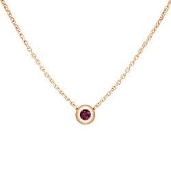 Золотое колье Мечтания в красном цвете с завальцованным рубином