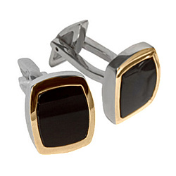 Серебряные запонки с ониксом и золотой накладкой Стиль 000008244