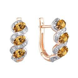 Золотые серьги в комбинированном цвете с цитринами и фианитами 000135803