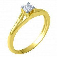 Кольцо из желтого золота Ева с бриллиантом