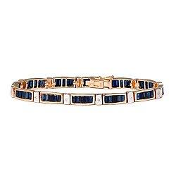 Золотой браслет с бриллиантами и сапфирами 000022090