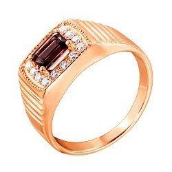 Перстень-печатка из красного золота с гранатом и фианитами 000134663