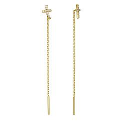 Серьги-протяжки из желтого золота Крестики с фианитами