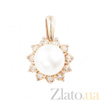 Золотой подвес с жемчугом и бриллиантами Обаяние 000026752