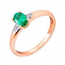 Кольцо в красном золоте Скартелл с изумрудом и бриллиантами