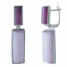 Серебряные серьги-подвески Фредерика с фиолетовым кошачьим глазом