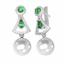 Серебряные серьги Ума с зеленым кварцем, жемчугом и фианитами