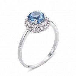 Серебряное кольцо с топазом и фианитами 000133110