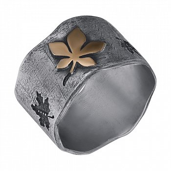 Каблучка зі срібла Leaf fall з золотою вставкою і чорнінням 000091452