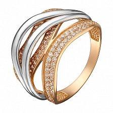 Кольцо в комбинированном золоте Легкие изгибы с цирконием