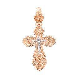 Золотой двусторонний крестик Распятие Христа и Ангел Божий в комбинированном цвете 000125624