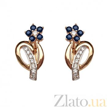 Золотые серьги с бриллиантами и сапфирами Сильва 000021772