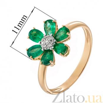 Золотое кольцо с изумрудами и бриллиантами Скарлетт KBL--К1011/крас/изум