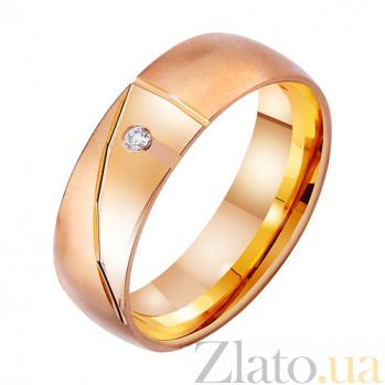 Золотое обручальное кольцо Геометрическая нежность с фианитом TRF--4121472