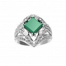 Серебряное кольцо Азиза с зеленым агатом и фианитами