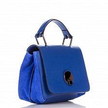 Кожаный клатч Genuine Leather 8606 синего цвета с короткой ручкой и карманом на тыльной стороне