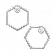 Серебряные сережки-пуссеты Гексагоны с белыми фианитами