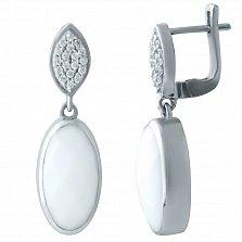 Серебряные серьги-подвески Мартина с завальцованными агатами и фианитами на шинке