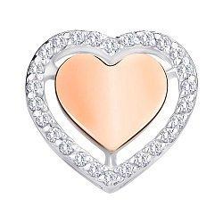 Подвеска из серебра с золотой накладкой и фианитами 000145989