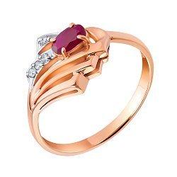 Кольцо из красного золота с рубином и бриллиантами Лестер