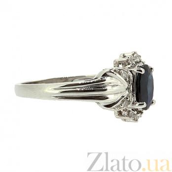 Золотое кольцо в белом цвете с сапфиром и бриллиантами Флора ZMX--RS-1101w_K