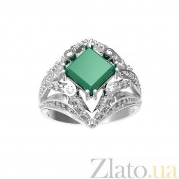 Серебряное кольцо Азиза с зеленым агатом и фианитами 000079770