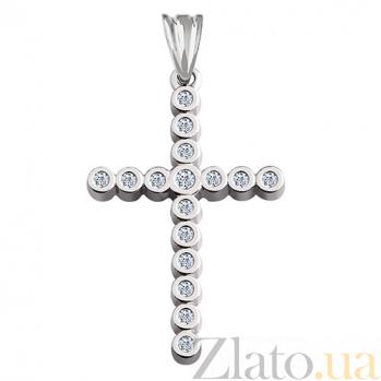Декоративный крест с бриллиантами Восторг KBL-П091/бел/брил