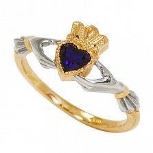 Золотое кладдахское кольцо Царство любви с синтезированным сапфиром